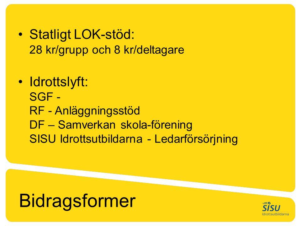 Bidragsformer Statligt LOK-stöd: 28 kr/grupp och 8 kr/deltagare