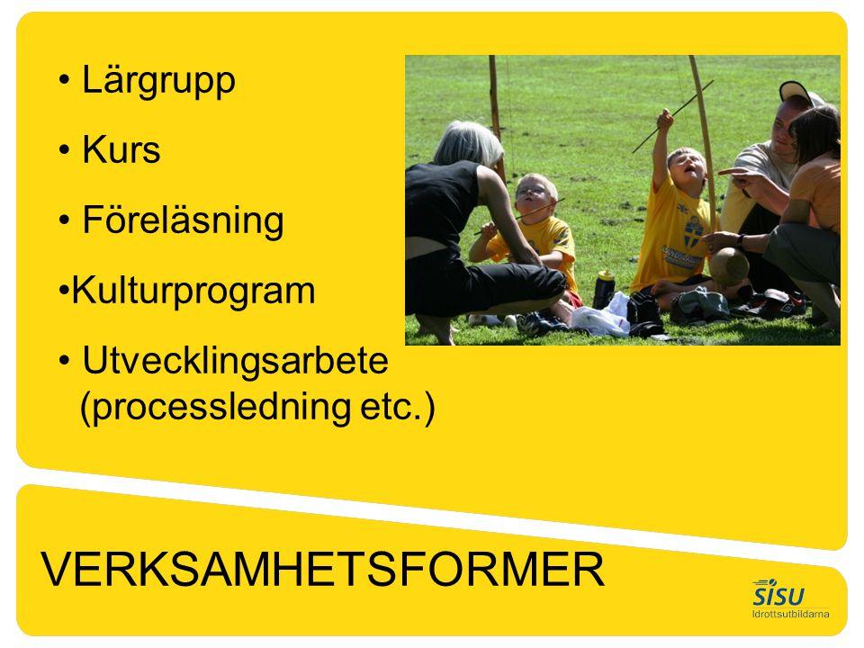 VERKSAMHETSFORMER Lärgrupp Kurs Föreläsning Kulturprogram
