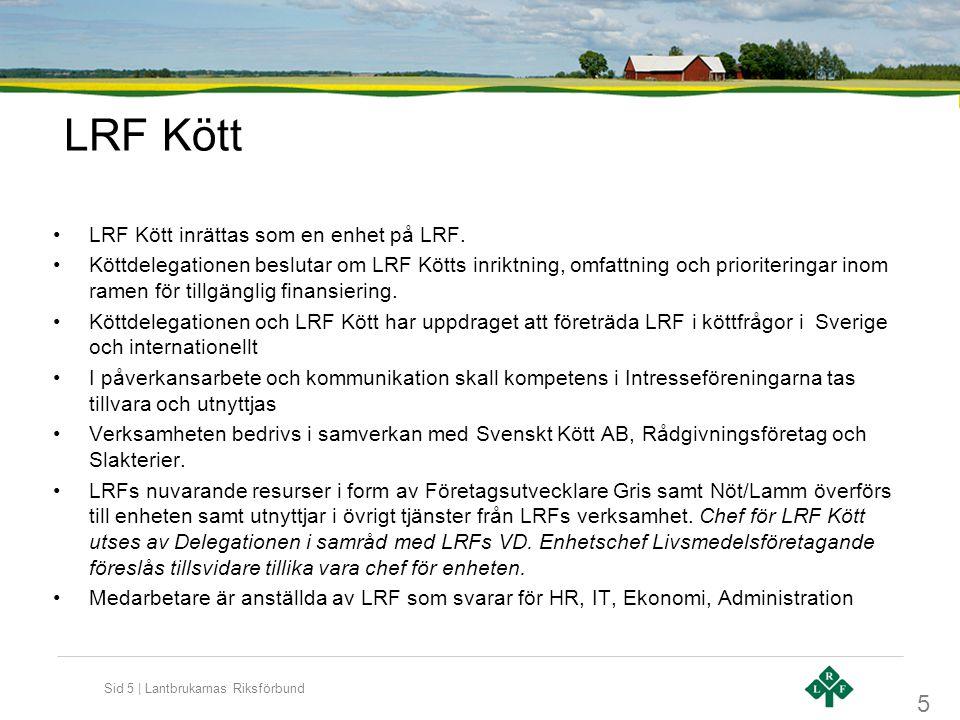 LRF Kött LRF Kött inrättas som en enhet på LRF.