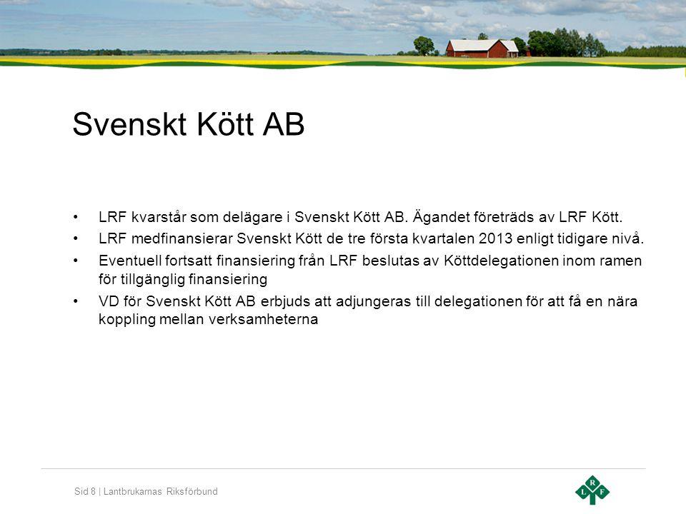 Svenskt Kött AB LRF kvarstår som delägare i Svenskt Kött AB. Ägandet företräds av LRF Kött.