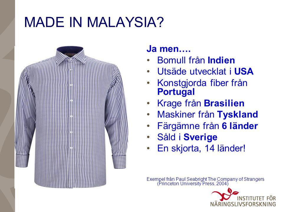 MADE IN MALAYSIA Ja men…. Bomull från Indien Utsäde utvecklat i USA