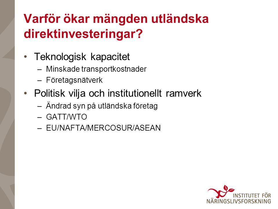 Varför ökar mängden utländska direktinvesteringar