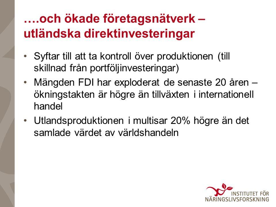 ….och ökade företagsnätverk – utländska direktinvesteringar