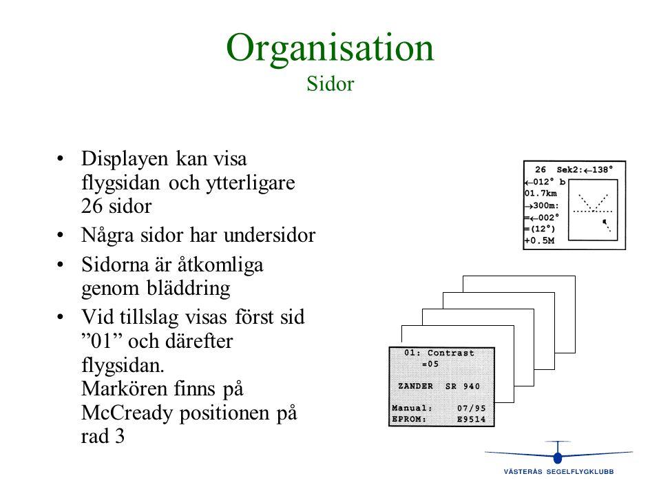 Organisation Sidor Displayen kan visa flygsidan och ytterligare 26 sidor. Några sidor har undersidor.