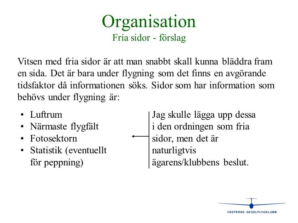 Organisation Fria sidor - förslag