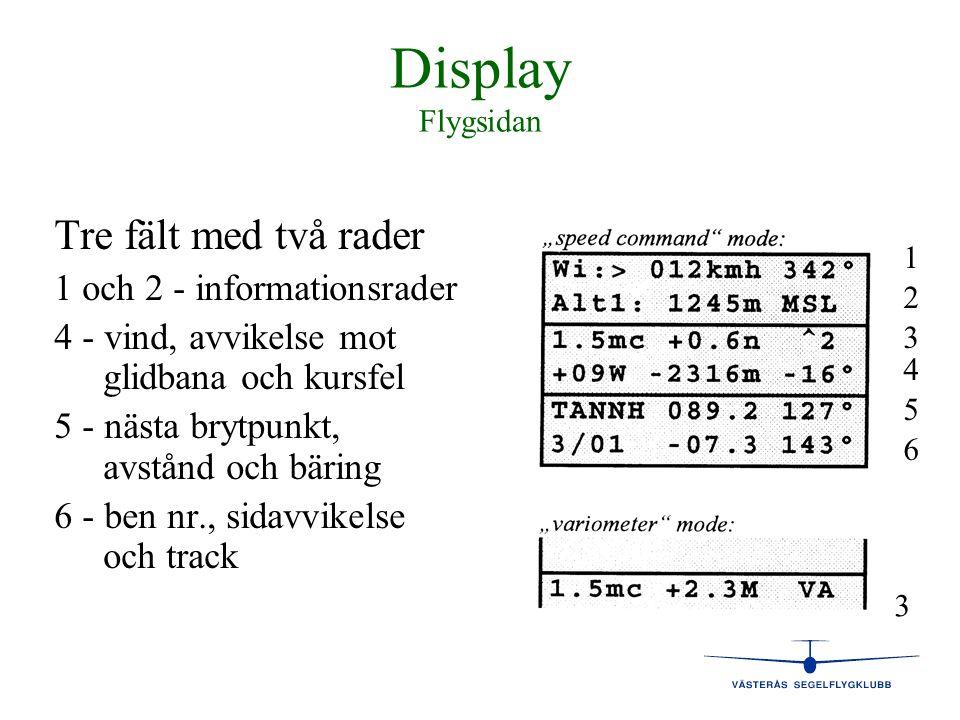 Display Flygsidan Tre fält med två rader 1 och 2 - informationsrader