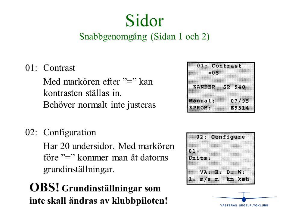Sidor Snabbgenomgång (Sidan 1 och 2)