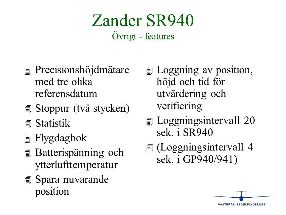 Zander SR940 Övrigt - features