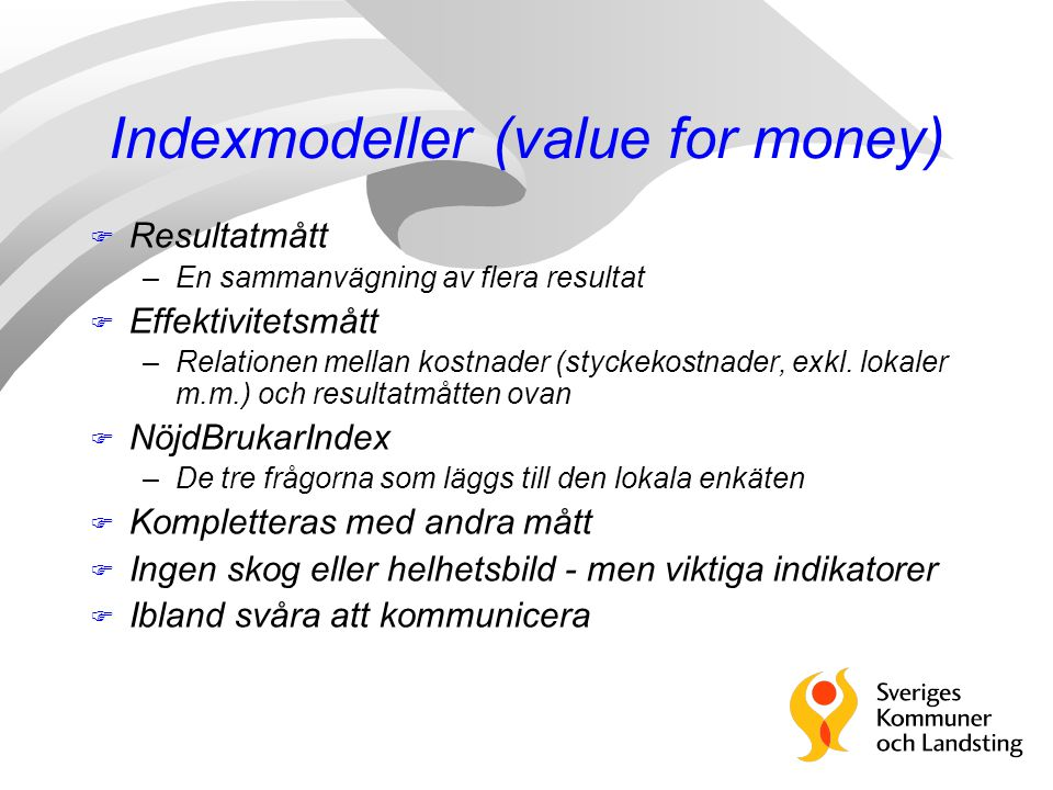 Indexmodeller (value for money)