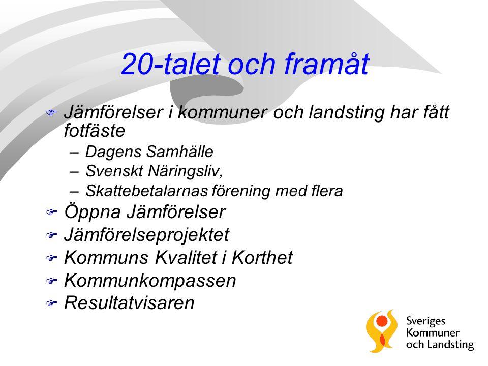 20-talet och framåt Jämförelser i kommuner och landsting har fått fotfäste. Dagens Samhälle. Svenskt Näringsliv,