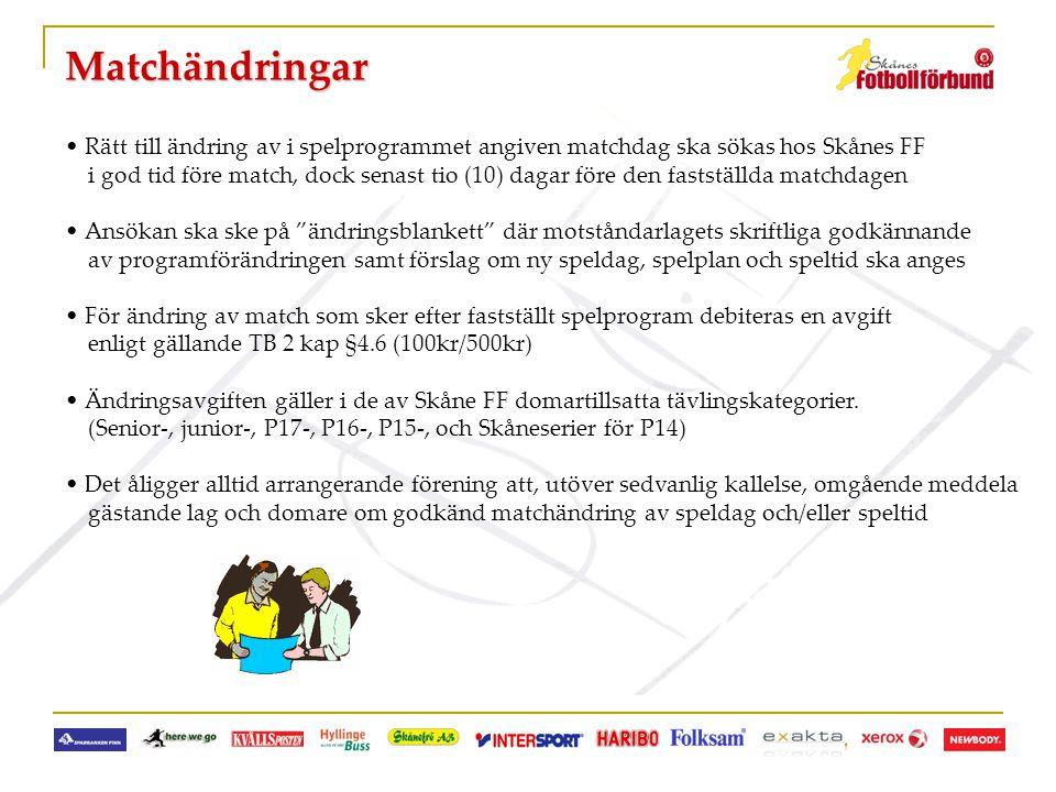 Matchändringar Rätt till ändring av i spelprogrammet angiven matchdag ska sökas hos Skånes FF.