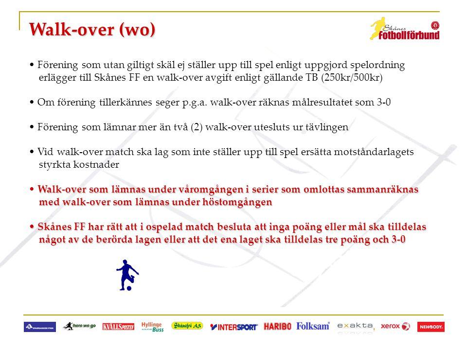 Walk-over (wo) Förening som utan giltigt skäl ej ställer upp till spel enligt uppgjord spelordning.