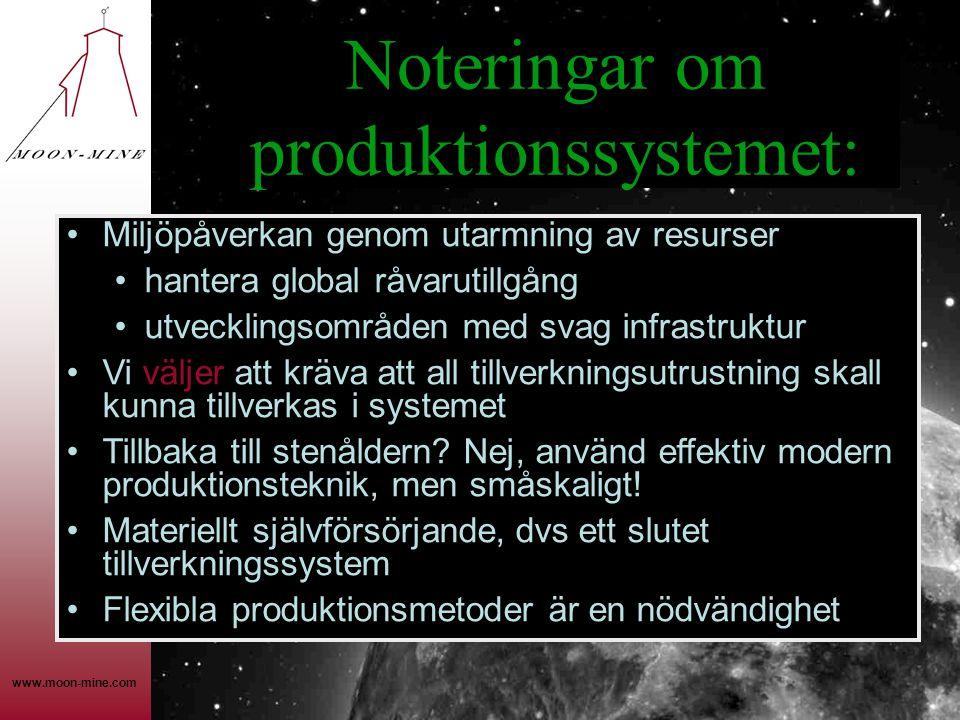 Noteringar om produktionssystemet: