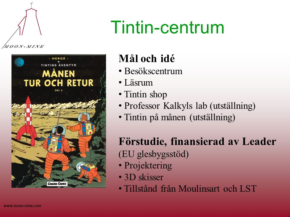 Tintin-centrum Mål och idé Förstudie, finansierad av Leader