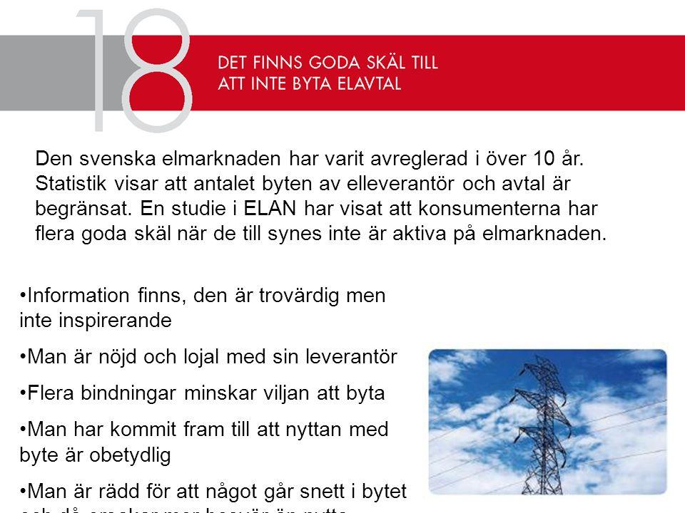 Den svenska elmarknaden har varit avreglerad i över 10 år
