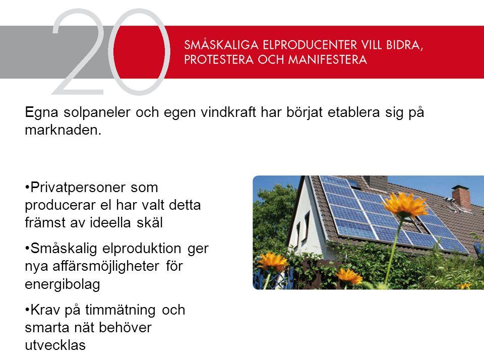 Egna solpaneler och egen vindkraft har börjat etablera sig på marknaden.