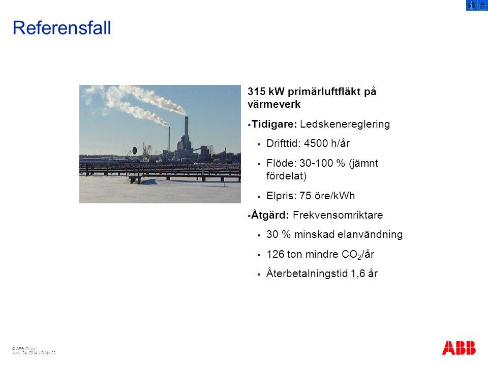 Referensfall 315 kW primärluftfläkt på värmeverk