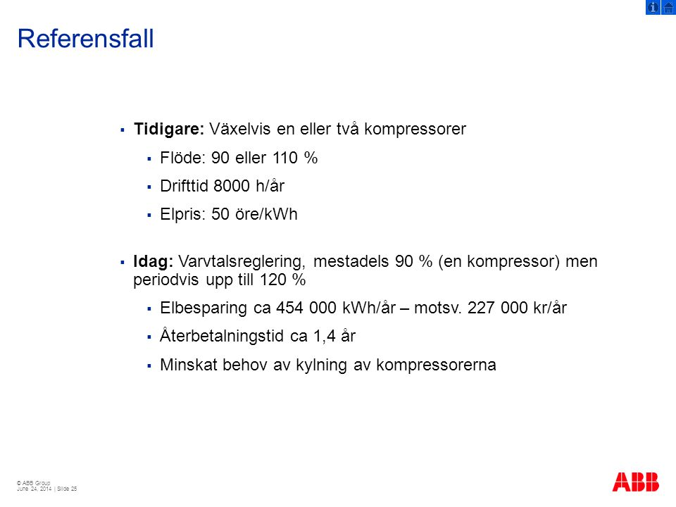 Referensfall Tidigare: Växelvis en eller två kompressorer