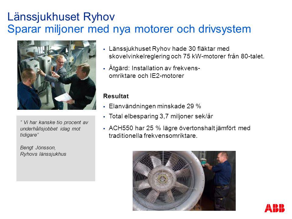 Länssjukhuset Ryhov Sparar miljoner med nya motorer och drivsystem