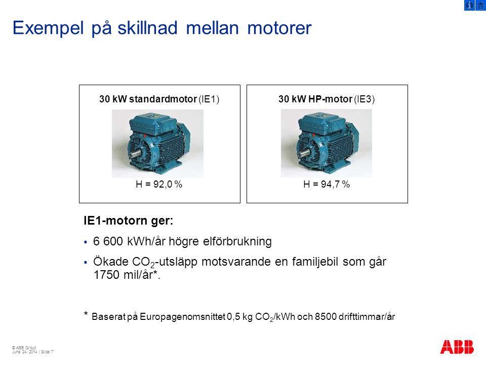 Exempel på skillnad mellan motorer