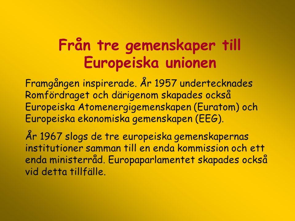 Från tre gemenskaper till Europeiska unionen