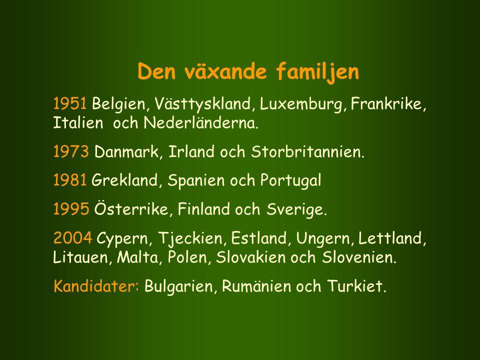 Den växande familjen 1951 Belgien, Västtyskland, Luxemburg, Frankrike, Italien och Nederländerna. 1973 Danmark, Irland och Storbritannien.