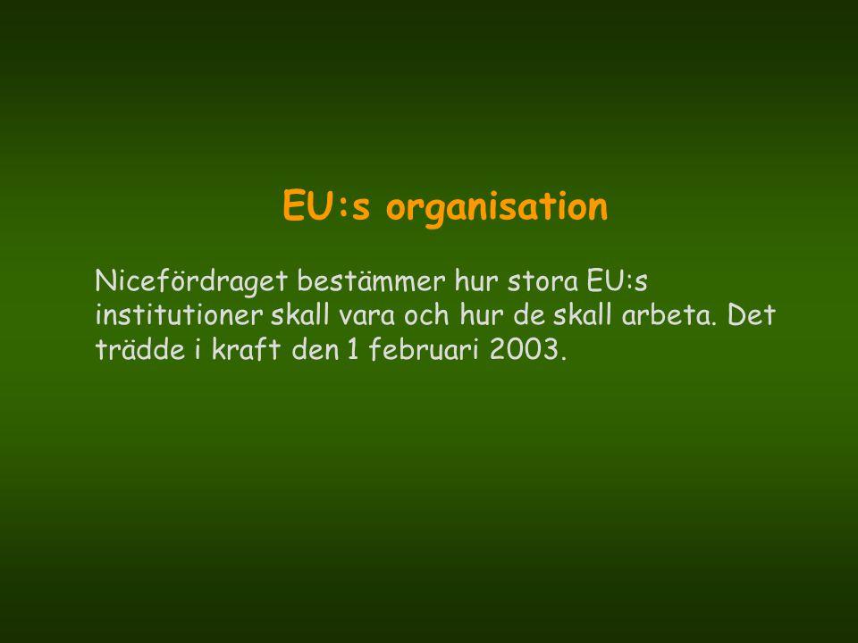 EU:s organisation Nicefördraget bestämmer hur stora EU:s institutioner skall vara och hur de skall arbeta.