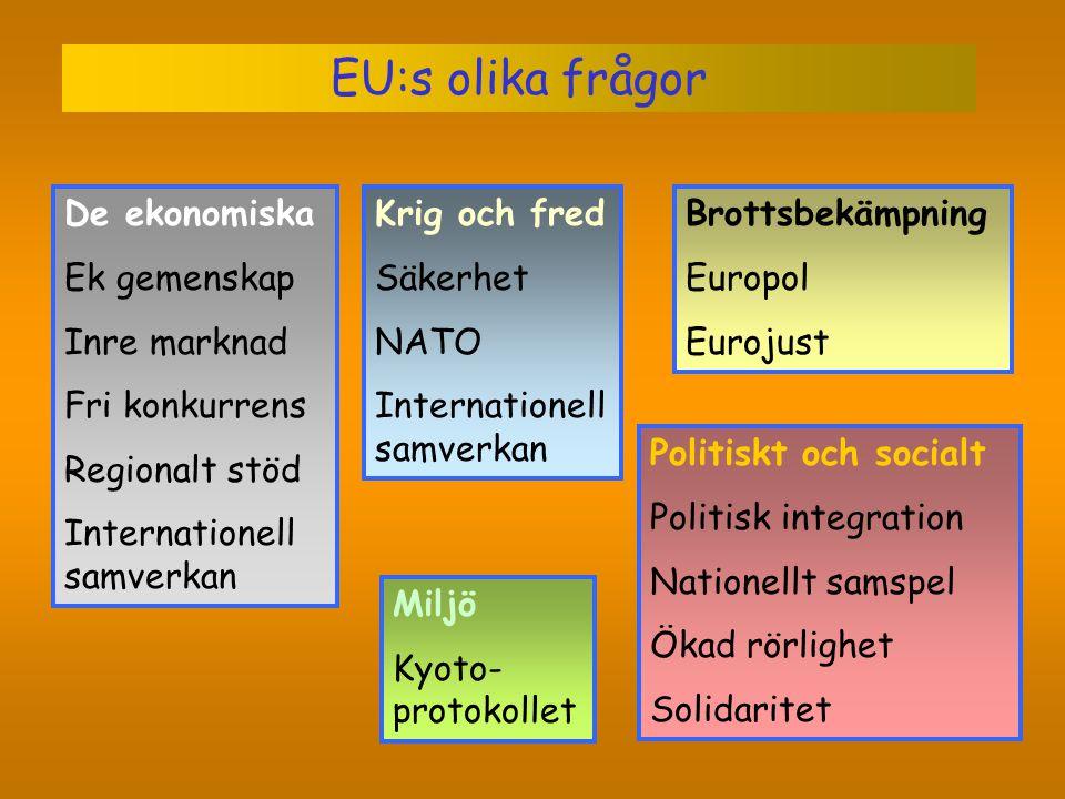 EU:s olika frågor De ekonomiska Ek gemenskap Inre marknad