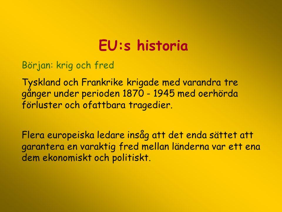 EU:s historia Början: krig och fred