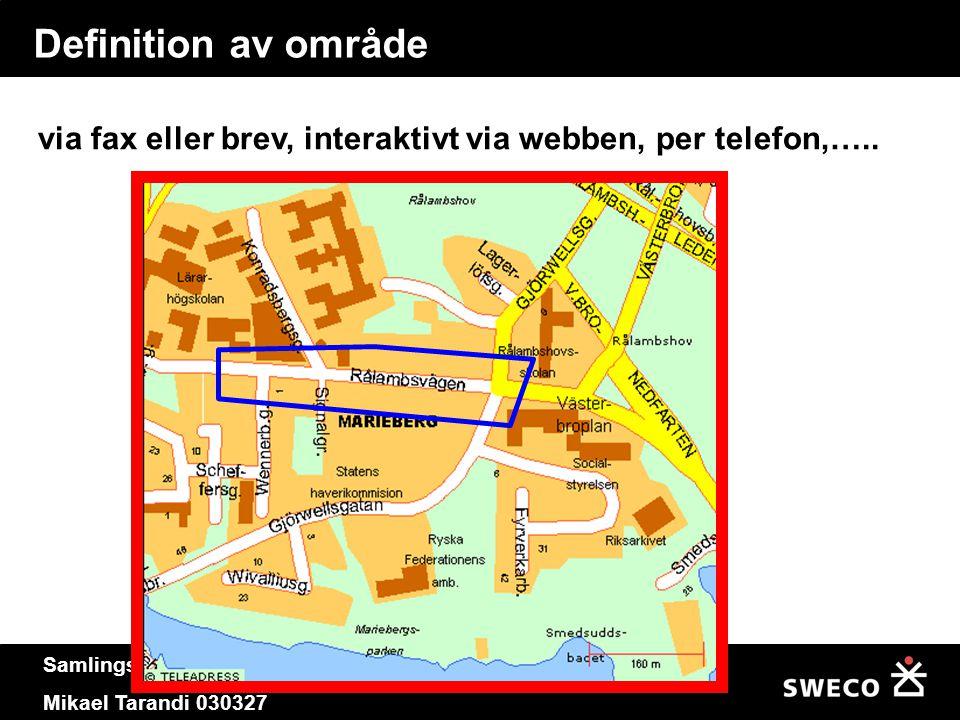 Definition av område via fax eller brev, interaktivt via webben, per telefon,…..