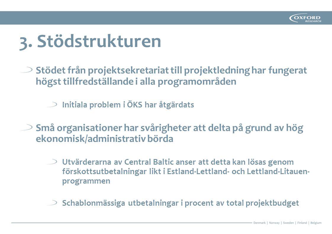 3. Stödstrukturen Stödet från projektsekretariat till projektledning har fungerat högst tillfredställande i alla programområden.