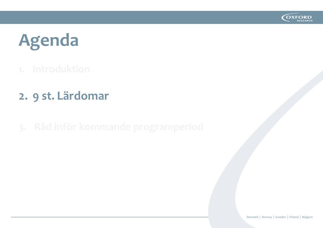 Agenda Introduktion 9 st. Lärdomar Råd inför kommande programperiod