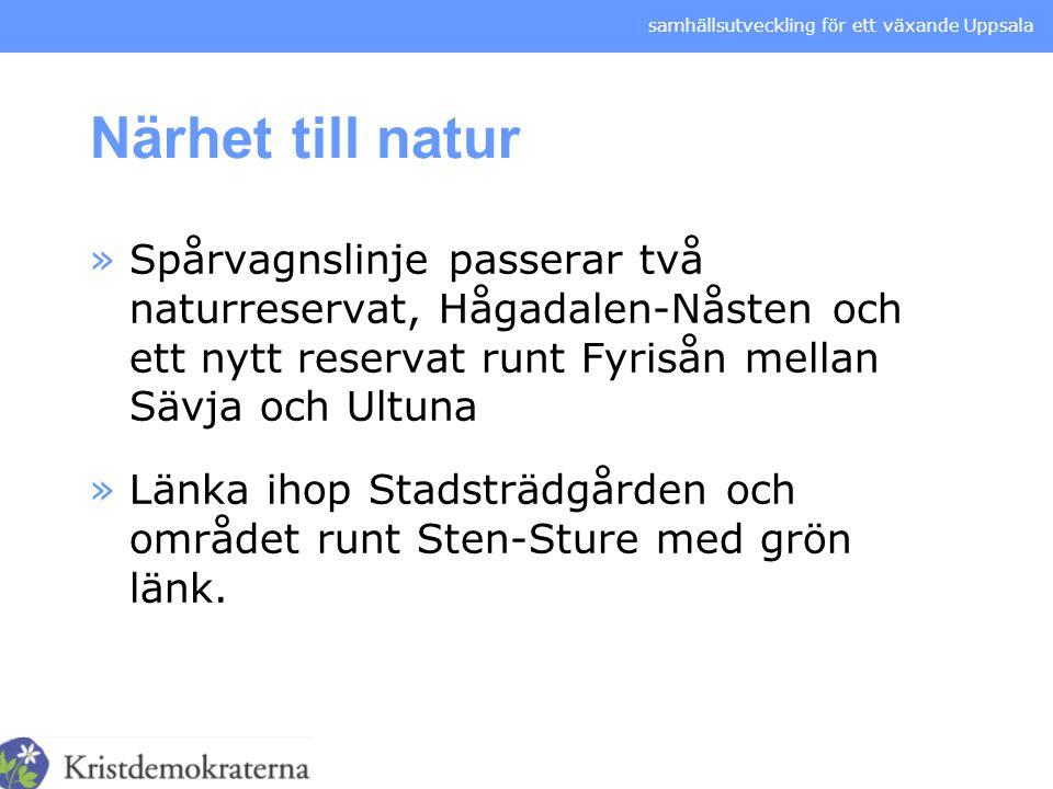 Närhet till natur Spårvagnslinje passerar två naturreservat, Hågadalen-Nåsten och ett nytt reservat runt Fyrisån mellan Sävja och Ultuna.