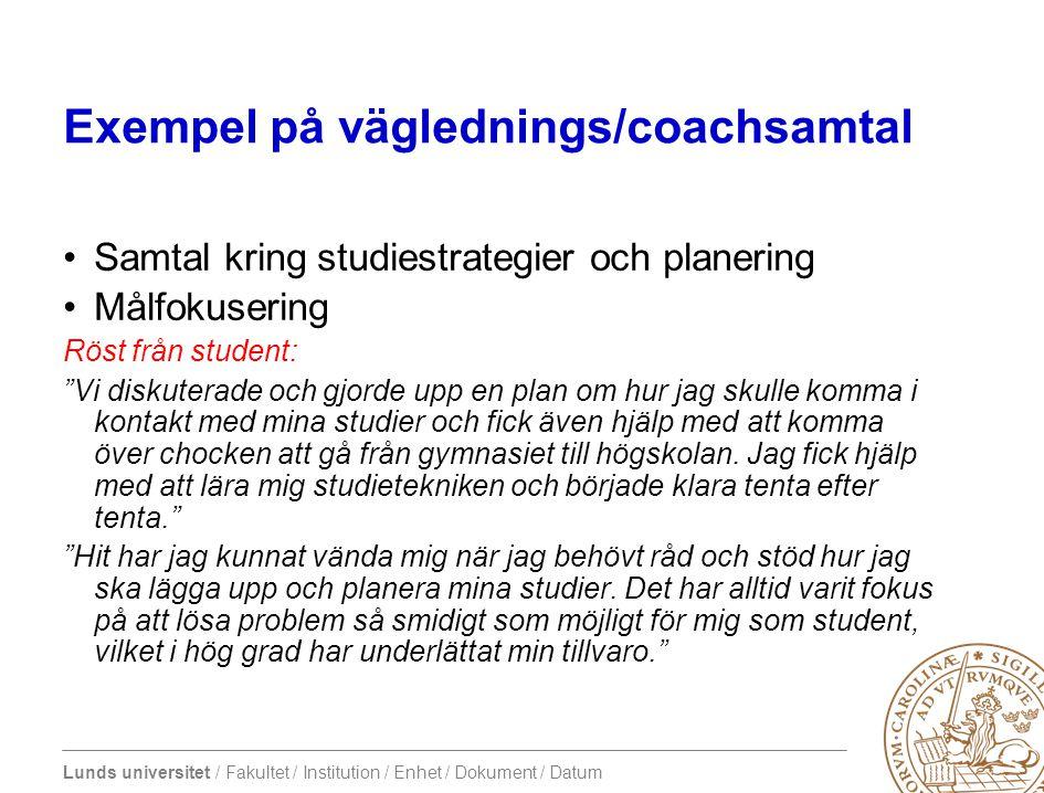 Exempel på väglednings/coachsamtal