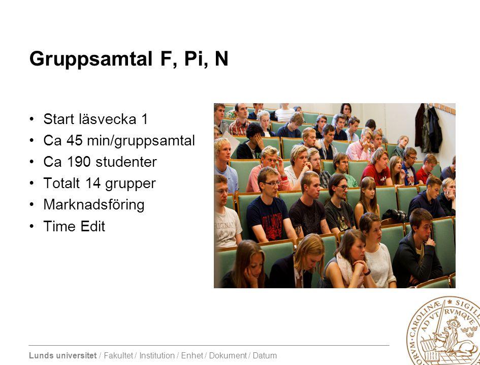 Gruppsamtal F, Pi, N Start läsvecka 1 Ca 45 min/gruppsamtal