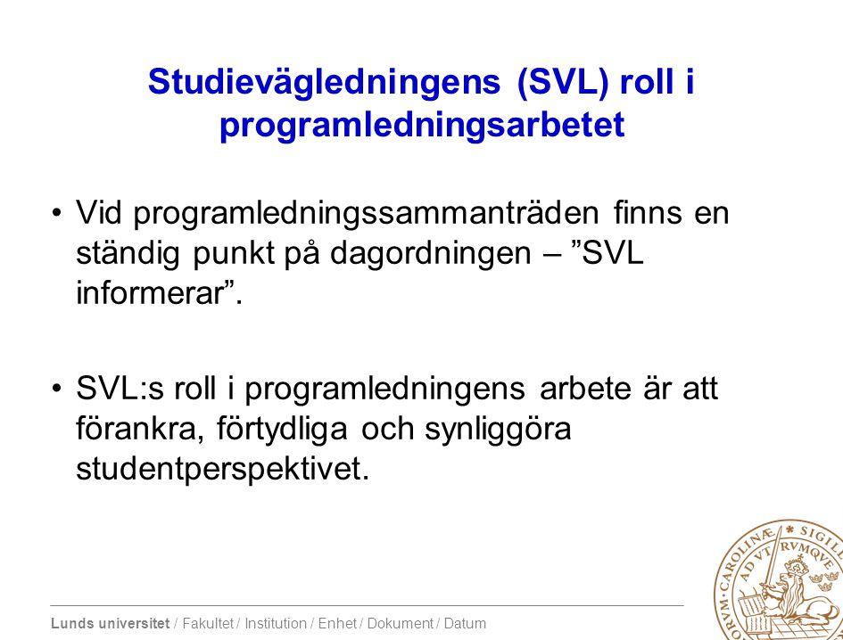 Studievägledningens (SVL) roll i programledningsarbetet