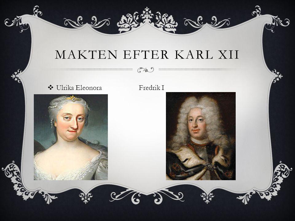 Makten efter Karl XII Ulrika Eleonora Fredrik I