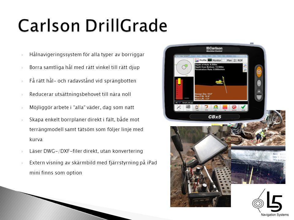 Carlson DrillGrade Hålnavigeringssystem för alla typer av borriggar