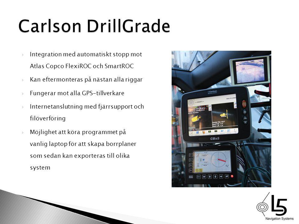 Carlson DrillGrade Integration med automatiskt stopp mot Atlas Copco FlexiROC och SmartROC. Kan eftermonteras på nästan alla riggar.