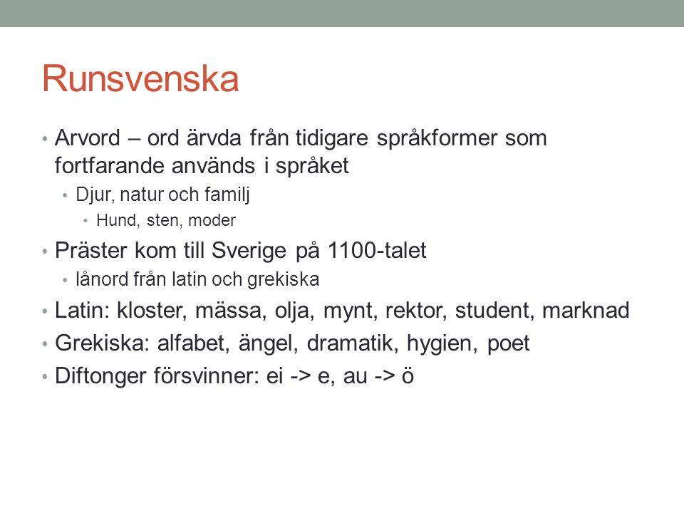 Runsvenska Arvord – ord ärvda från tidigare språkformer som fortfarande används i språket. Djur, natur och familj.