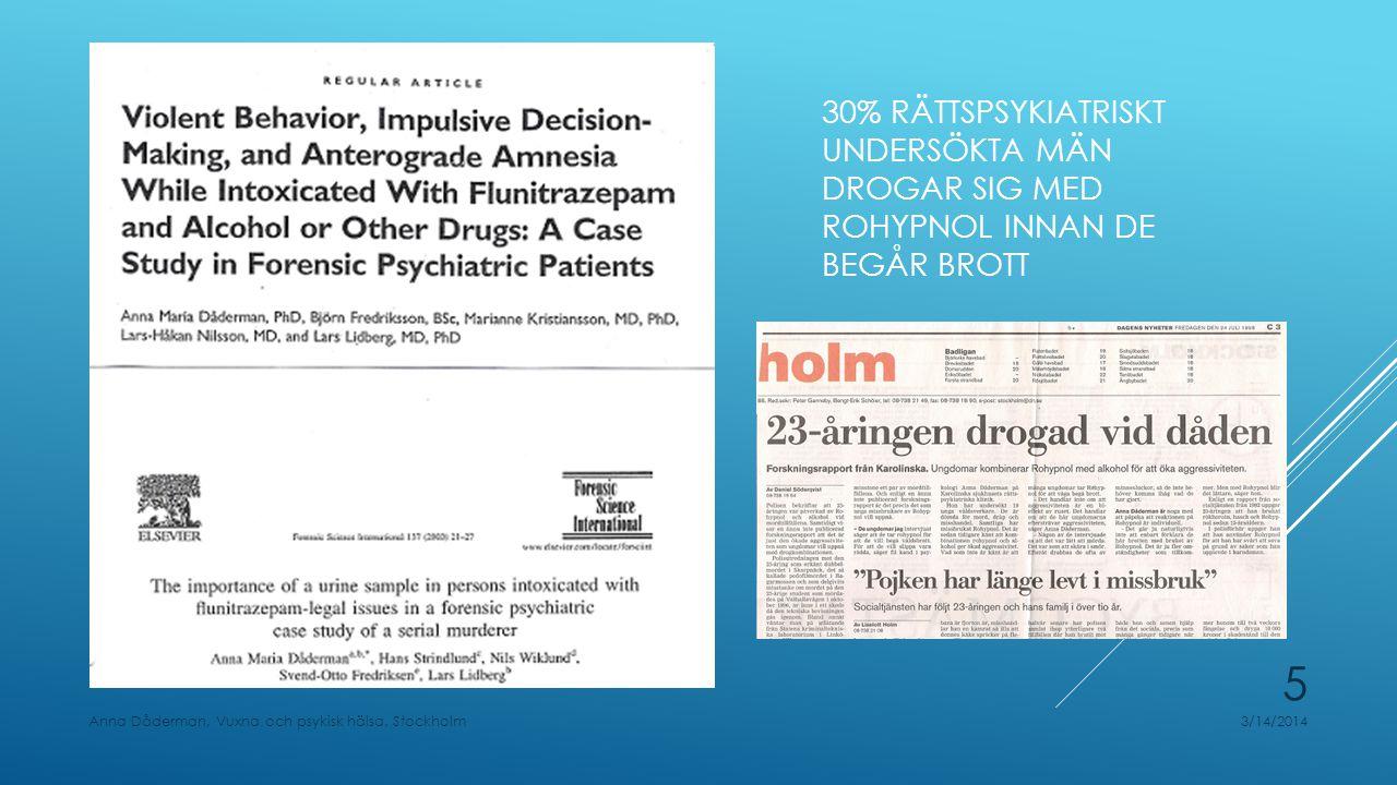 30% rättspsykiatriskt undersökta män drogar sig med rohypnol innan de begår brott