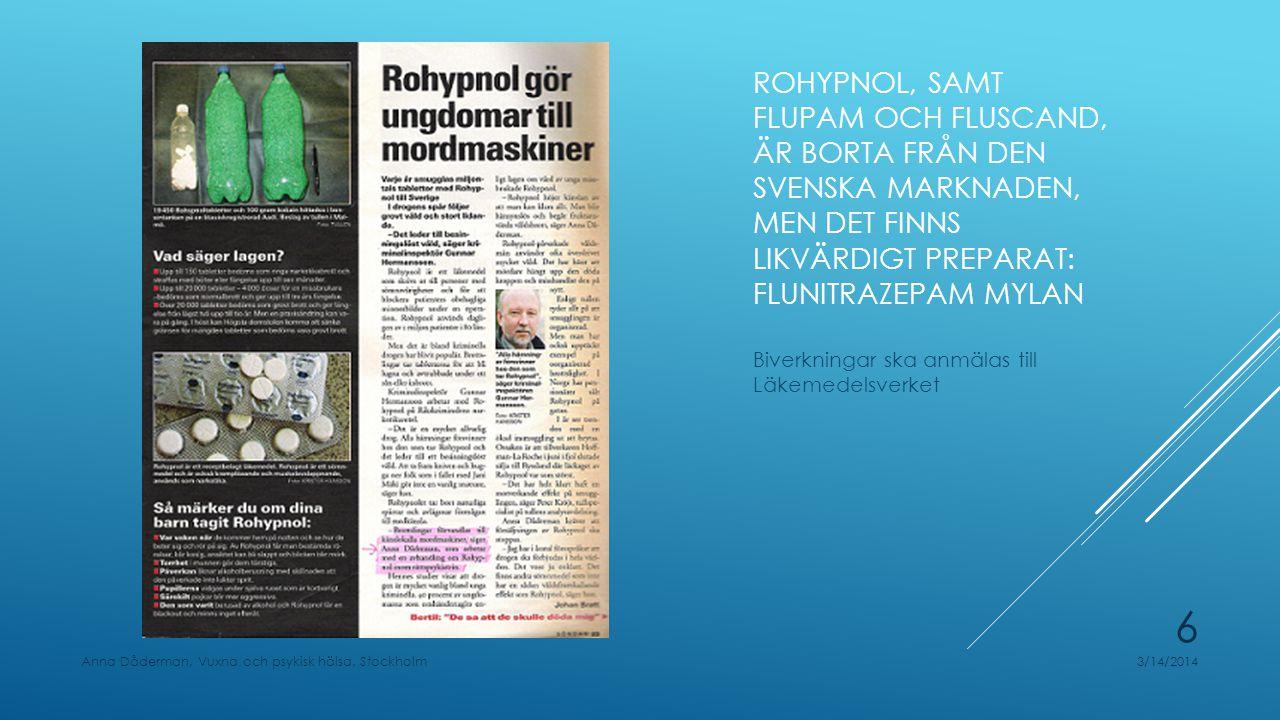 Rohypnol, samt Flupam och Fluscand, är borta från den svenska marknaden, men det finns likvärdigt preparat: Flunitrazepam Mylan