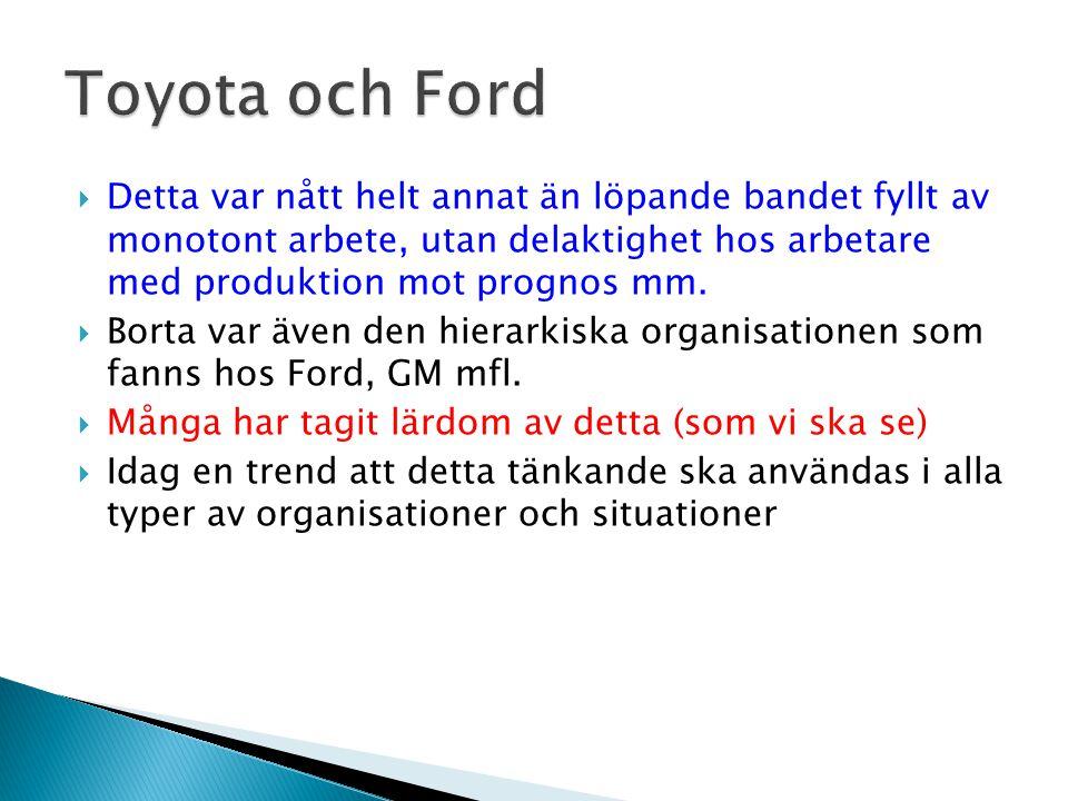 Toyota och Ford Detta var nått helt annat än löpande bandet fyllt av monotont arbete, utan delaktighet hos arbetare med produktion mot prognos mm.