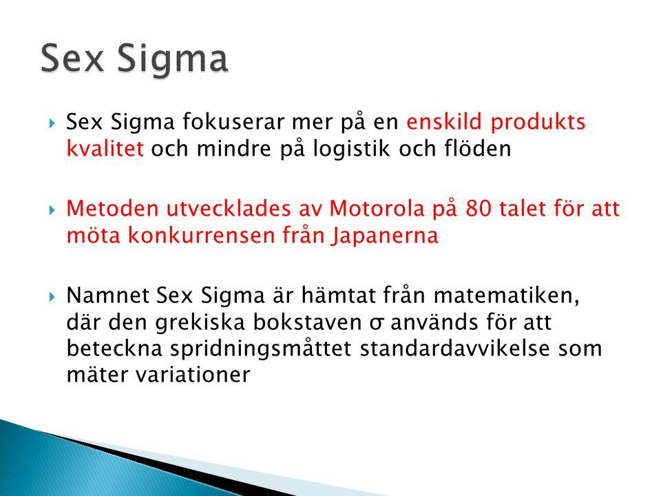Sex Sigma Sex Sigma fokuserar mer på en enskild produkts kvalitet och mindre på logistik och flöden.