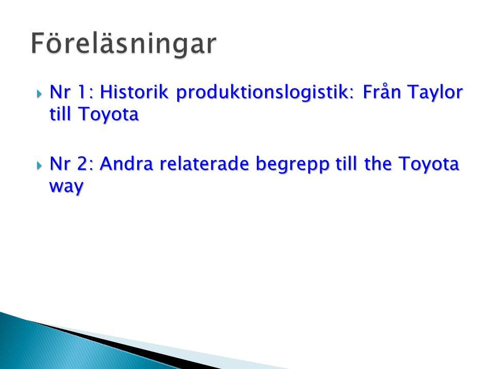 Föreläsningar Nr 1: Historik produktionslogistik: Från Taylor till Toyota.