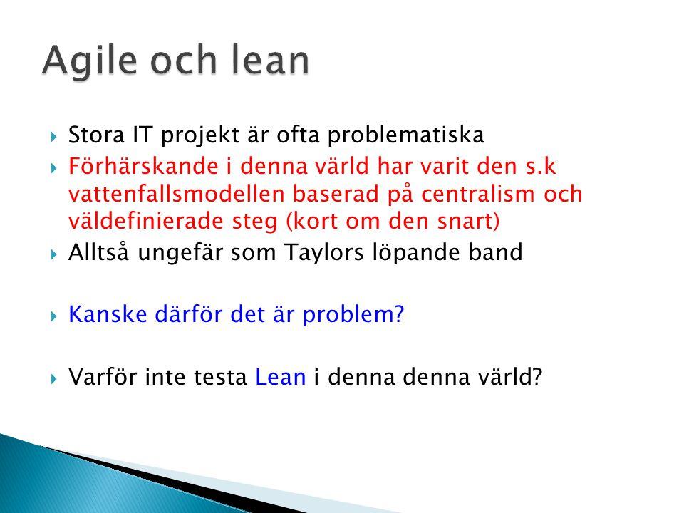 Agile och lean Stora IT projekt är ofta problematiska