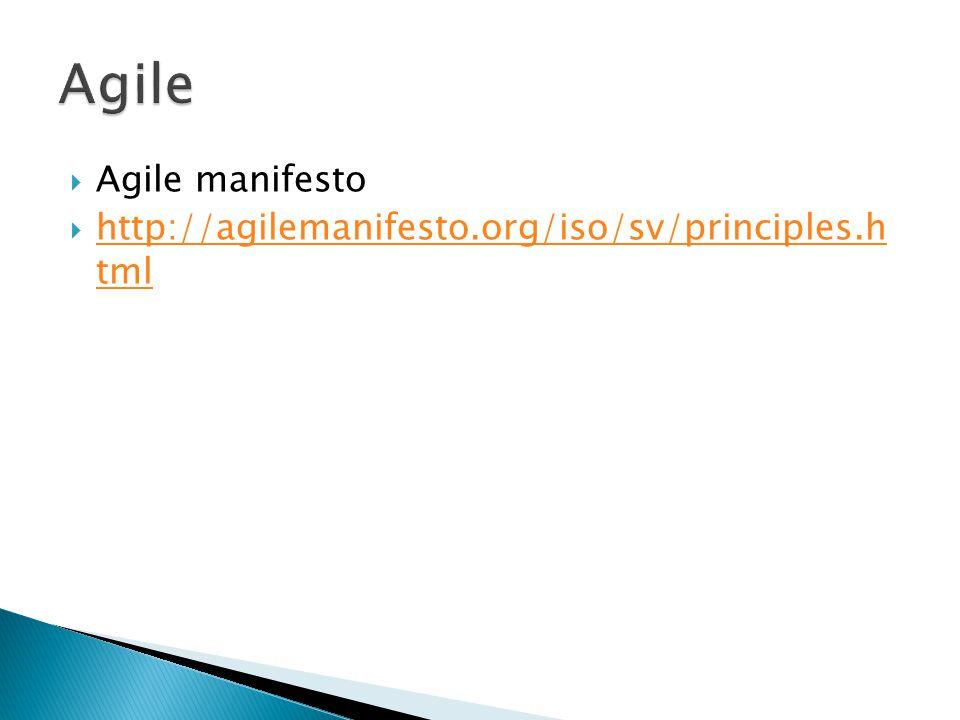 Agile Agile manifesto http://agilemanifesto.org/iso/sv/principles.h tml