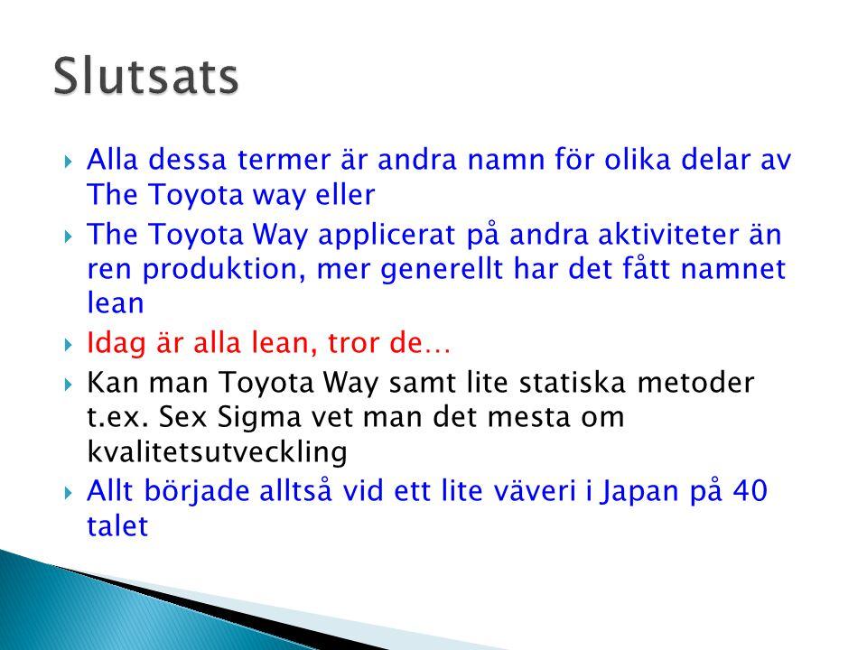 Slutsats Alla dessa termer är andra namn för olika delar av The Toyota way eller.