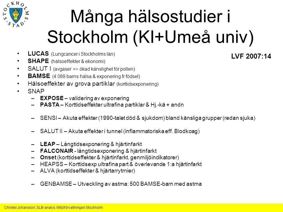 Många hälsostudier i Stockholm (KI+Umeå univ)