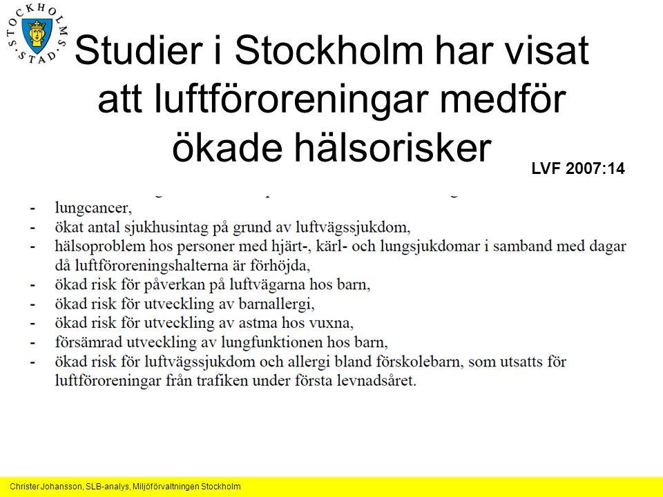 Studier i Stockholm har visat att luftföroreningar medför ökade hälsorisker
